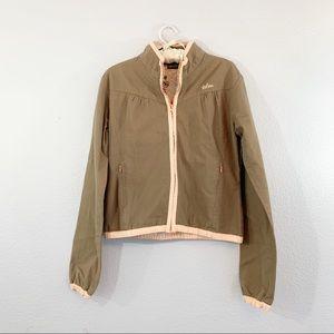 VOLCOM Brown Textured Rip Stop Zip-Up Jacket